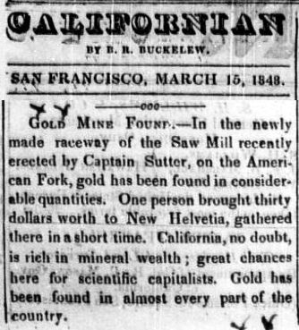 CalifornianNewspaperGoldFoundMarch15-1848