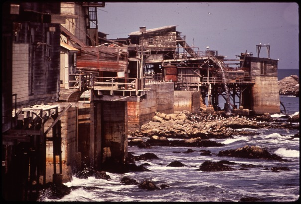 Deteriorating buildings at Cannery Row, Monterey Bay