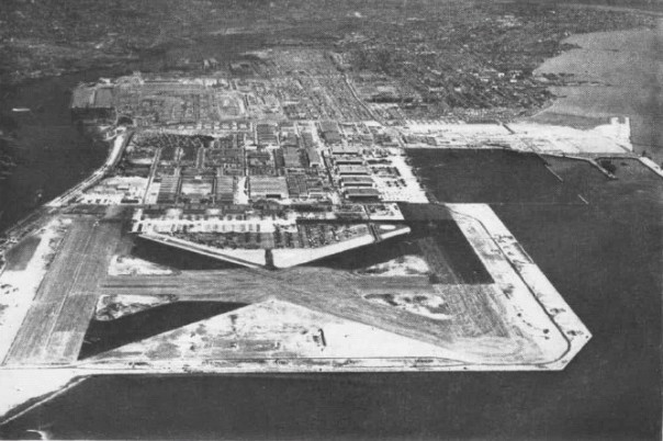 Alameda Naval Air Station, in its years as an active base, runways and service buildings in foreground