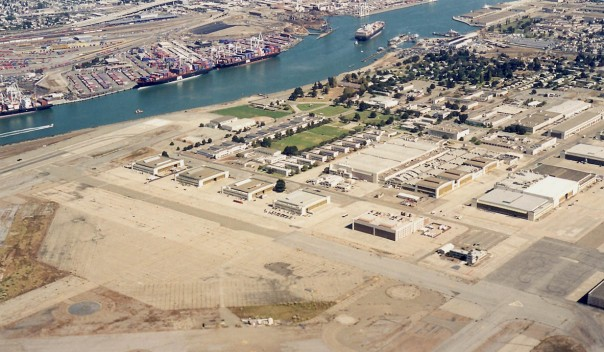 NAS in the 1990s after decommissioning, but with clearer view of tree-lined housing area for personnel at upper right