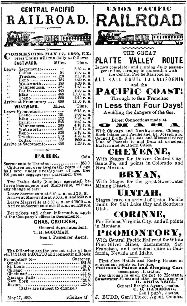 Display ads for Central Pacific Railroad