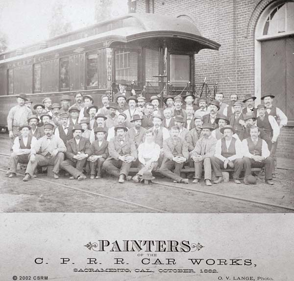 Group portrait of a Central Pacific maintenance crew in Sacramento
