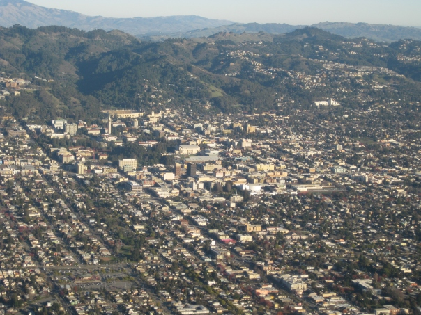 UC Berkeley campus, with Berkeley Hills in background and Radiation Laboratory at left