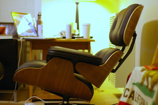 Eames lounge chair in a design still found in many homes and offices