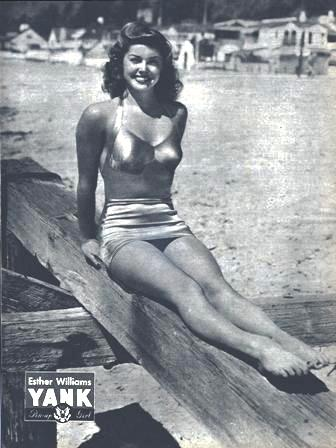 The Hollywood star Esther Williams modeling one of the new swimsuit designs.