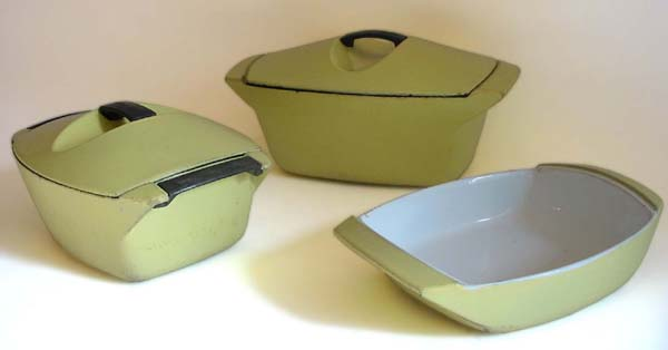Cookware made by the French company Le Creuset, in California design