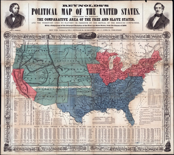 Map of Free and Slave States at the time of Fremont's Presidential campaign
