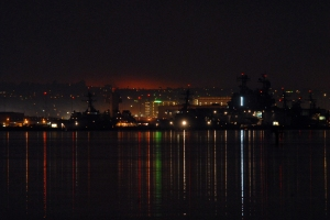 Fires burning in San Diego County  in 2014 as seen from the harbor