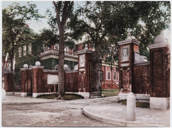 Main entrance to Harvard with classroom building in background (Credit: Detroit Photographic Company)