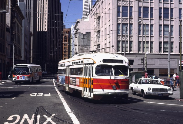 San Francisco trolley-bus built 1946, at First and Mission (Credit: Drew Jacksich)