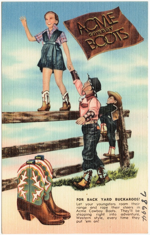 Cowboy boots advertising, 1930-1945 (Credit: Boston Public Library)