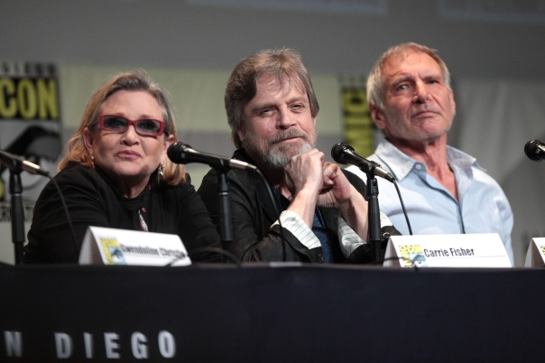 Carrie Fisher, Mark Hamill, and Harrison Ford at San Diego Comic Con, 1915 (Credit: Gage Skidmore)
