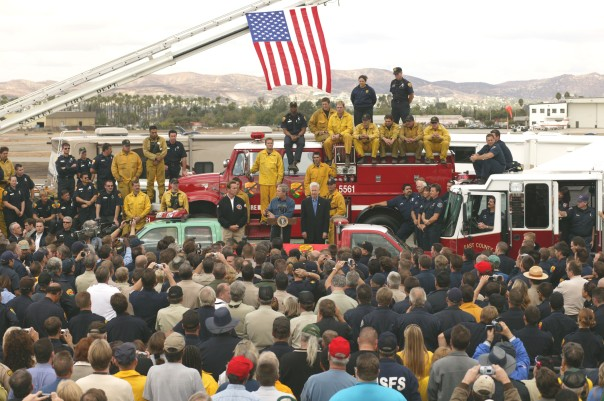 Dignitaries work to inspire California firefighters